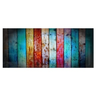 Designart 'Vintage Wooden Pattern' Contemporary Metal Wall Art