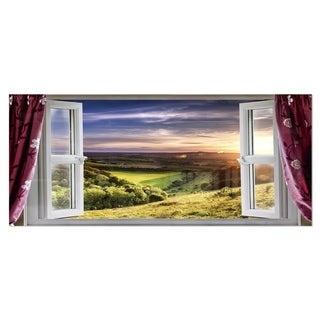 Designart 'Window View' Landscape Contemporary Metal Wall Art