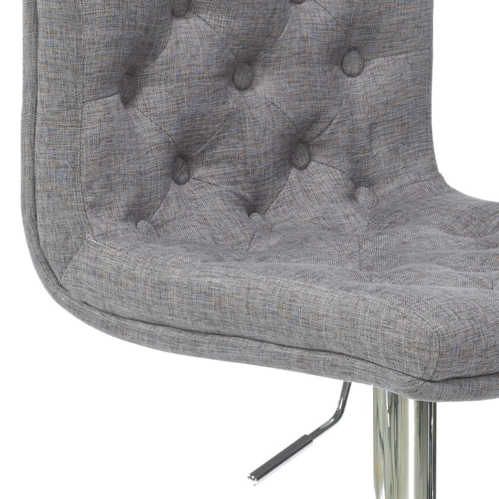 Slate Cushioned Fabric Set of 2 Uptown Club Dano Collection Button Tufted Height Adjustable Swivel Bar and Counter Stool Chair
