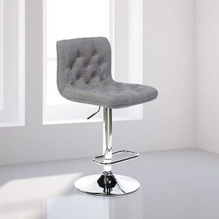 Modern Tufted Beige Upholstered Armless Barstool