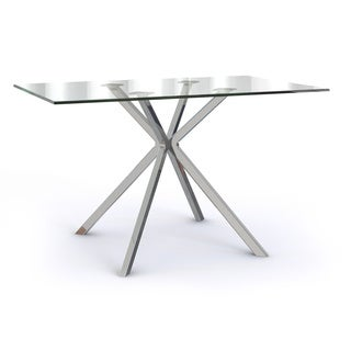 Linus Silver Glass/Metal Dining Table
