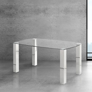 Jarvis Silver Metal and Glass Dining Table