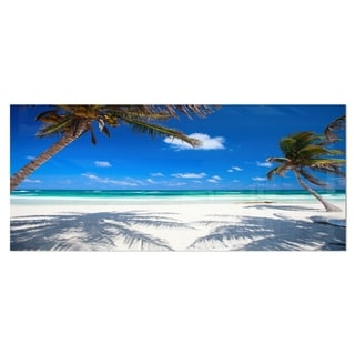 Designart 'Coconut Palms at Beach' Photo Landscape Metal Wall Art