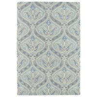 Hand-Tufted Seldon Spa Blue Paisley Rug (8'0 x 10'0) - 8' x 10'