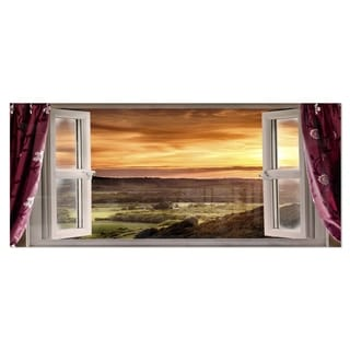 Designart 'Open Window to Rural Landscape' Contemporary Metal Wall Art