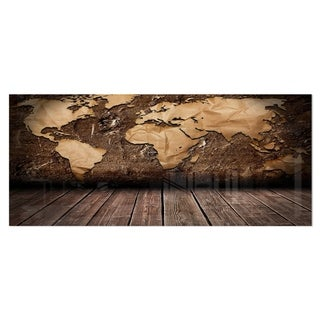 Designart 'Vintage Map with Wooden Floor' Contemporary Metal Wall Art