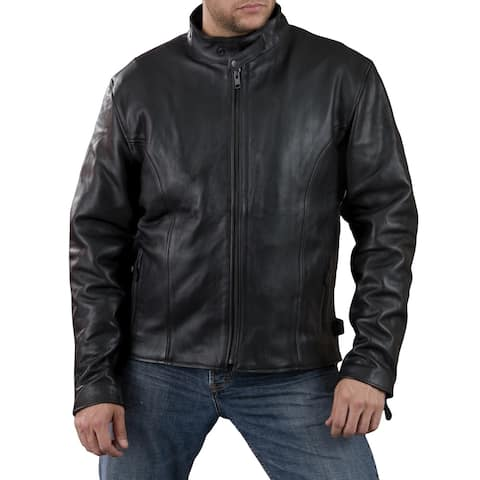Shaf International Men's Classic Black Leather Side Zipper Scooter Jacket