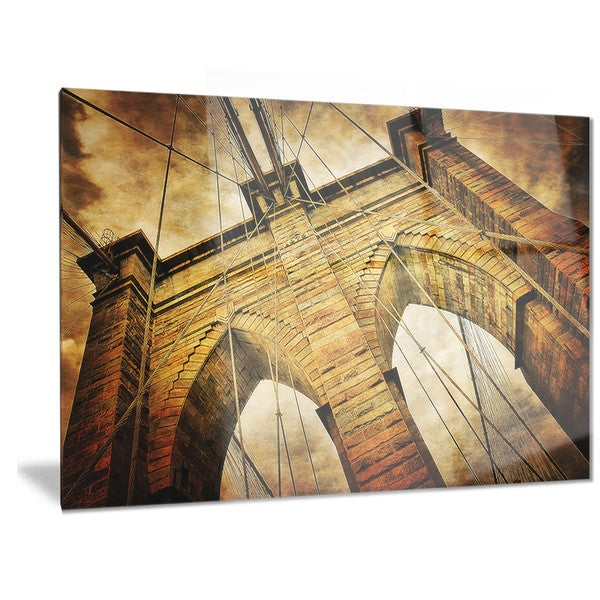 Designart \'Vintage Brooklyn Bridge\' Contemporary Metal Wall Art ...