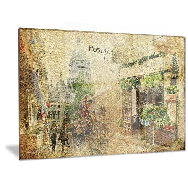 Shop Designart \'Vintage Parisian Cards\' Contemporary Metal Wall Art ...