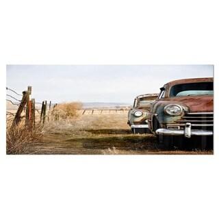 Designart 'Vintage Cars' Contemporary Metal Wall Art