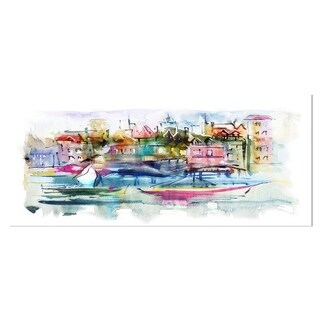 Designart 'Houses and Boats' Abstract Landscape Metal Wall Art