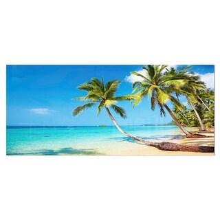 Designart 'Tropical Beach' Photography Seascape Metal Wall Art