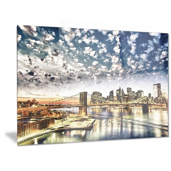 Cityscape Wall Art designart 'new york city' manhattan skyline' cityscape photo metal