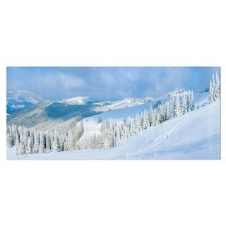 Designart 'Panoramic Winter Mountain' Landscape Photo Metal Wall Art