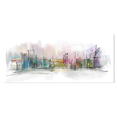Designart 'City in a Distance Illustration' Cityscape Metal Wall Art