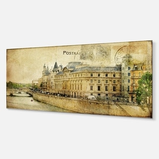 Designart 'Old Parisian Cards' Digital Metal Wall Art