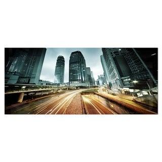 Link to Designart 'Traffic in Hong Kong at Sunset' Cityscape Photo Metal Wall Art Similar Items in Metal Art