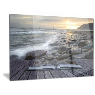 Designart 'Open Book to the Evening Sea' Contemporary Metal Wall Art