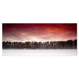 Designart 'Sunset over Frozen Lake' Landscape Photo Metal Wall Art