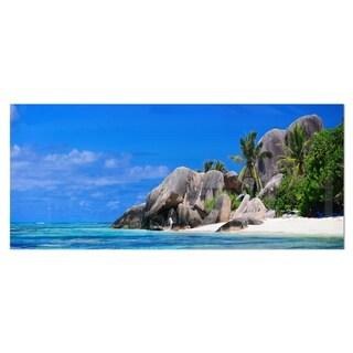 Designart 'Seychelles Beach Panorama' Landscape Photo Metal Wall Art