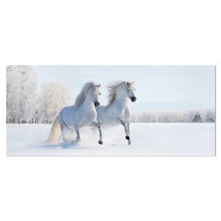 Designart 'Two Galloping White Ponies' Animal Photo Metal Wall Art