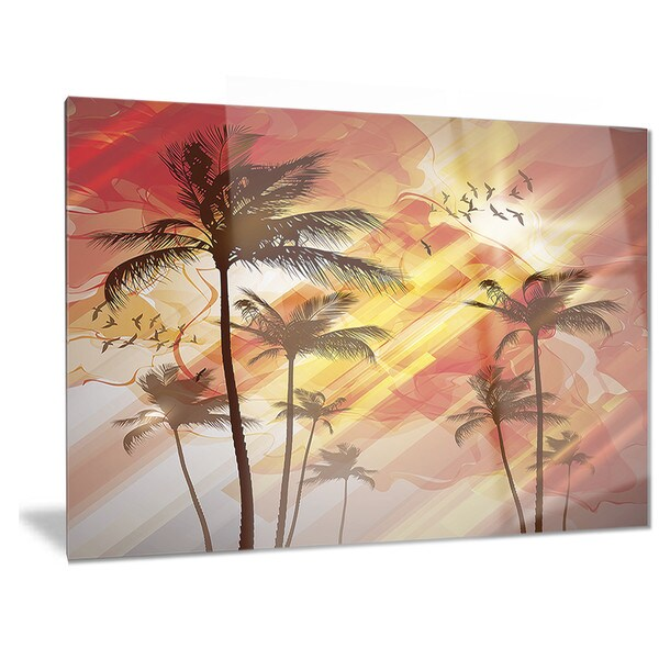Shop Designart Palm Tree At Sunset Photography Metal Wall Art On