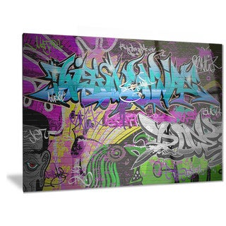 Designart 'Graffiti Wall Urban Art' Abstract Street Art Metal Wall Art