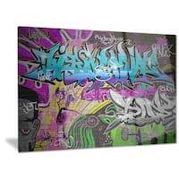 Designart 'Graffiti Wall Urban Art' Abstract Street Art Metal Wall Art