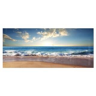 Designart 'Sea Sunset' Seascape Photography Metal Wall Art