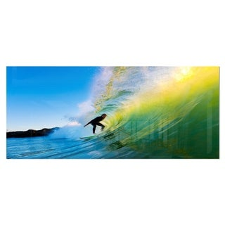 Designart 'Surfer Beating Green Waves' Photo Metal Wall Art