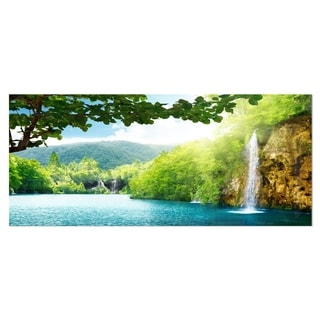 Designart 'Waterfall in Deep Forest' Landscape Photography Metal Wall Art