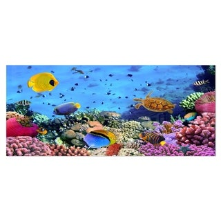 Designart 'Coral Colony and Coral Fishes' Seascape Photo Metal Wall Art