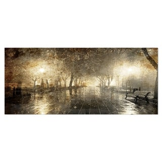 Designart 'Night Alley with Lights' Photography Landscape Metal Wall Art