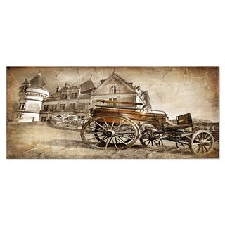 Designart 'Medieval Castle with Carriage' Contemporary Metal Wall Art