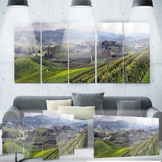 Designart 'Vineyards in Italy Panoramic' Photo Metal Wall Art