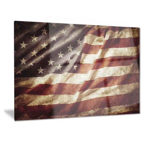 Designart u0026#x27;American Flagu0026#x27; Contemporary Metal Wall Art  sc 1 st  Overstock.com & Shop Designart u0027American Flagu0027 Contemporary Metal Wall Art - On Sale ...