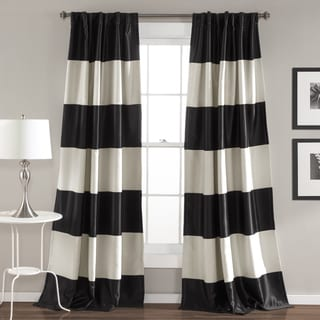 Lush Decor Montego Black and Gold Striped Window Curtain Panel Pair