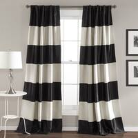 Lush Decor Montego Black/Gold Striped Window 84-inch Curtain Panel Pair