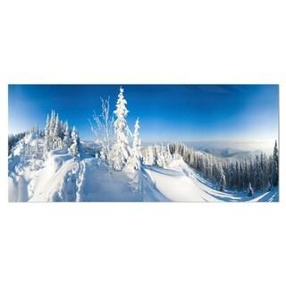 Designart 'Panoramic Winter Mountain' Photo Metal Wall Art