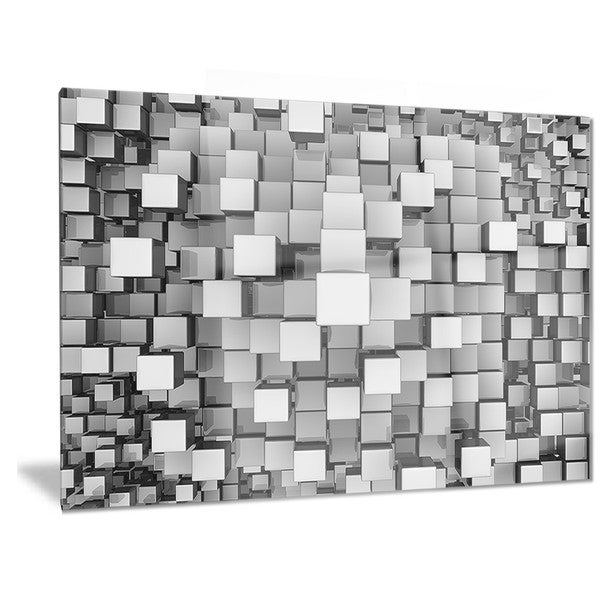 Overstock Wall Art designart 'black and grey cubes' contemporary metal wall art