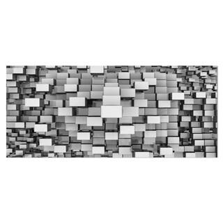 Designart 'Black and Grey Cubes' Contemporary Metal Wall Art