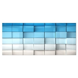 Designart 'Blue and White Mosaic Cubes' Contemporary Metal Wall Art