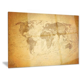 Designart 'Vintage Classic Map' Contemporary Metal Wall Art