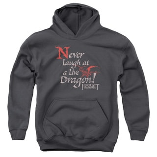 Hobbit/Never Laugh Youth Pull-Over Hoodie in Charcoal