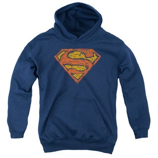 Superman/Messy S Youth Pull-Over Hoodie in Navy
