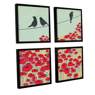 Shanni Welsh's Bird On A Wire I, 4-piece Floater Framed Canvas Sqare Set