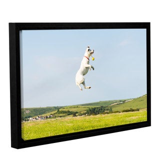 Andrew Lever's 'Dog Fetches' Gallery Wrapped Floater-framed Canvas