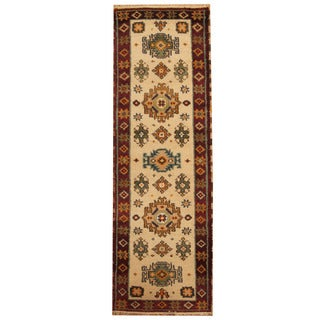 Herat Oriental Indo Hand-knotted Tribal Kazak Ivory/ Red Wool Runner (2'2 x 6'7)