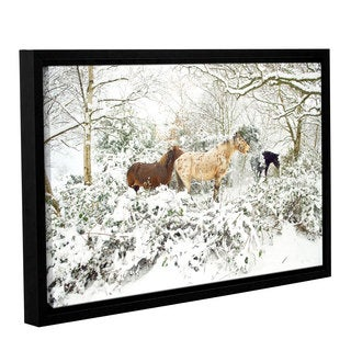 Andrew Lever's 'Horses in Winter' Gallery Wrapped Floater-framed Canvas