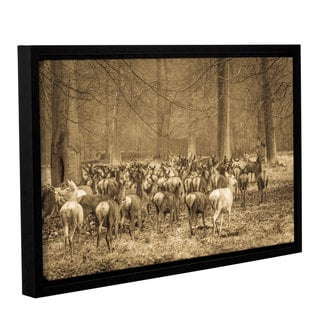 Andrew Lever's 'Hurdle of Deer' Gallery Wrapped Floater-framed Canvas